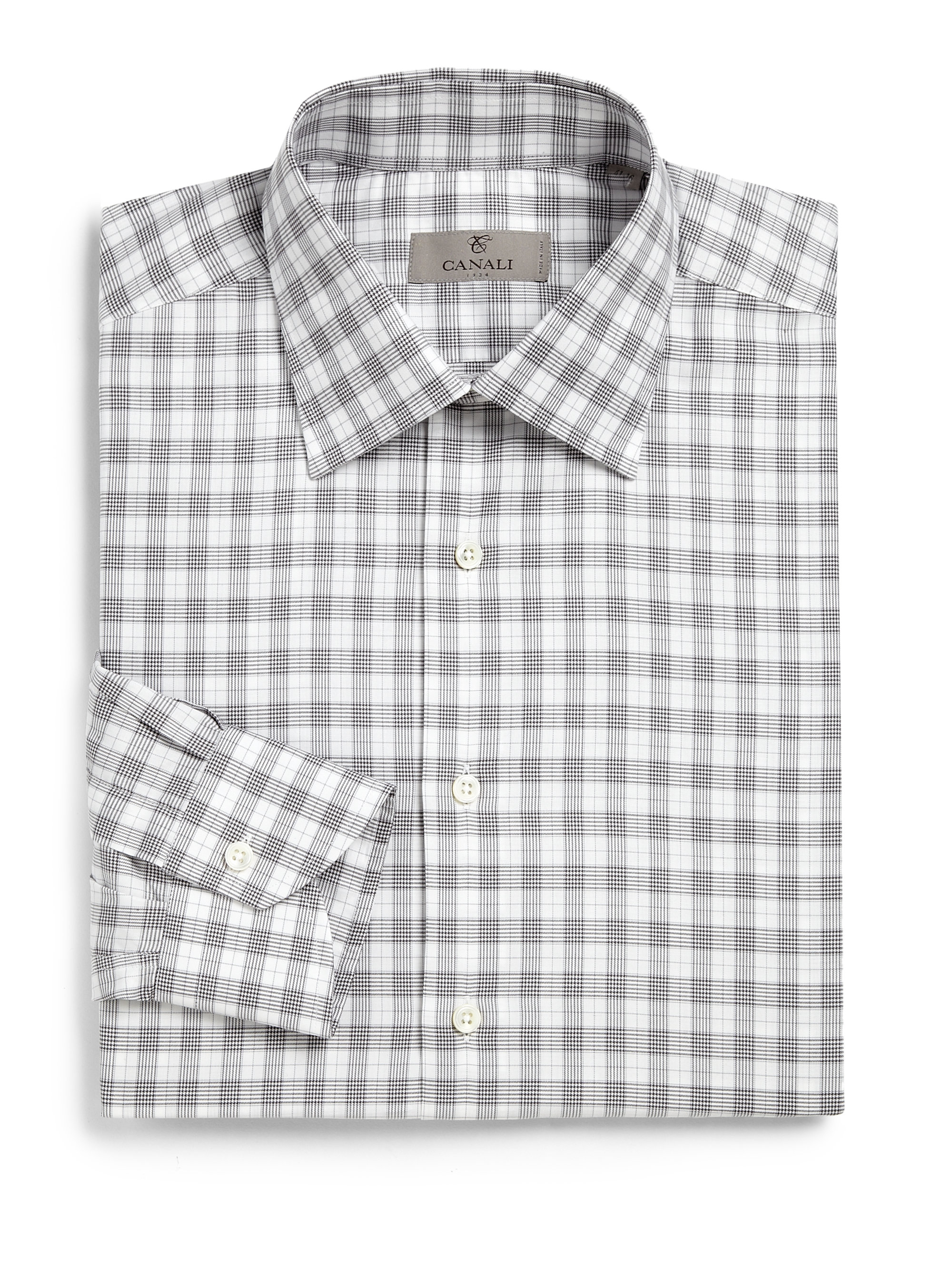 canali glen plaid dress shirt in gray for men lyst