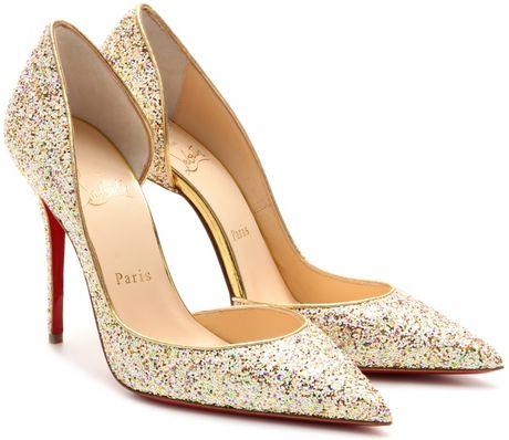 Christian Louboutin Iriza 100 Glitter Pumps In Gold Multi