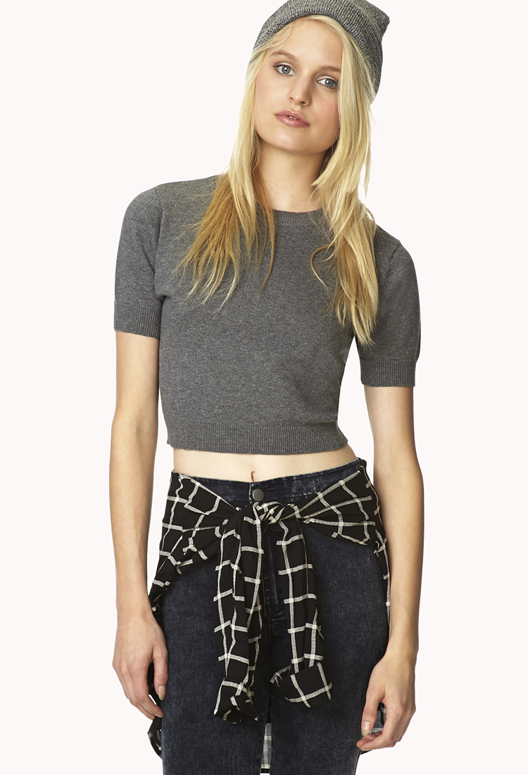 Forever 21 Sweet Cropped Sweater in Gray (Grey) | Lyst