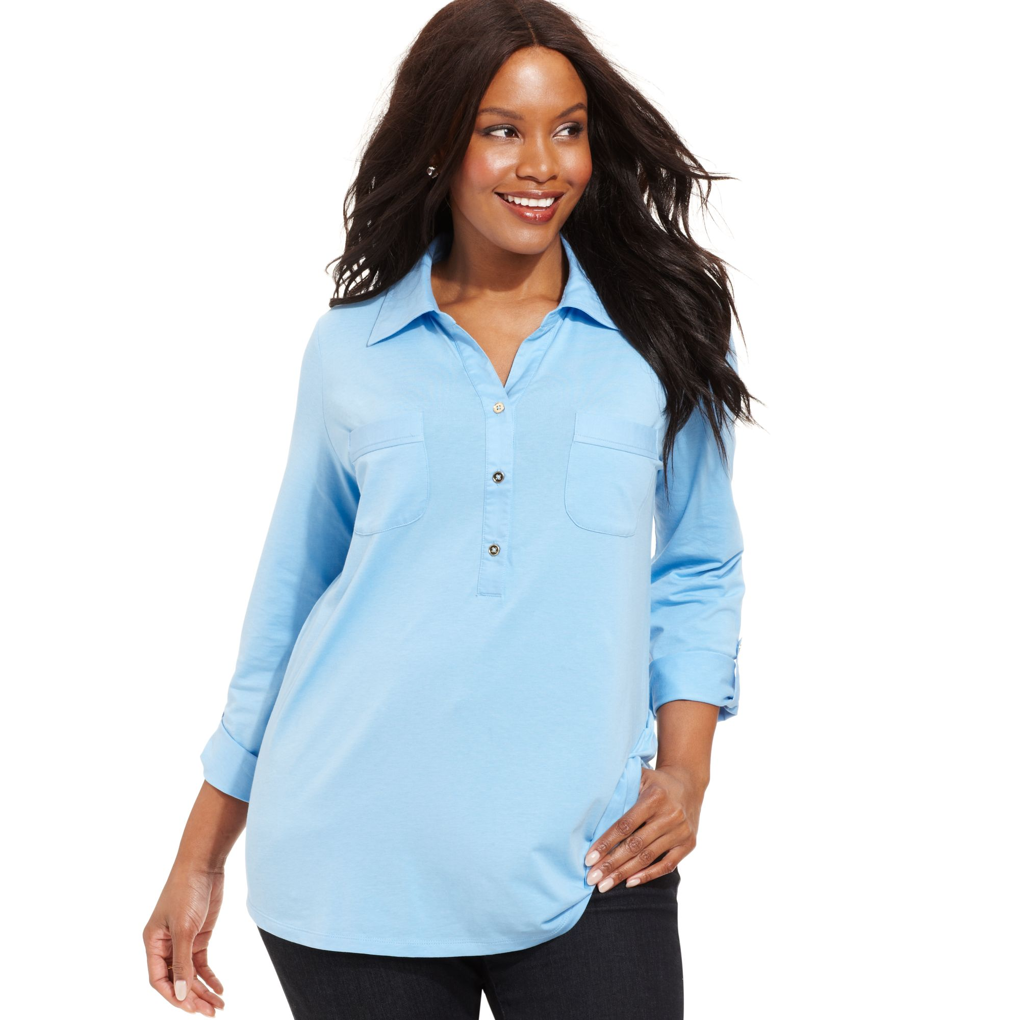 Jones New York Signature Plus Size Longsleeve Polo Shirt