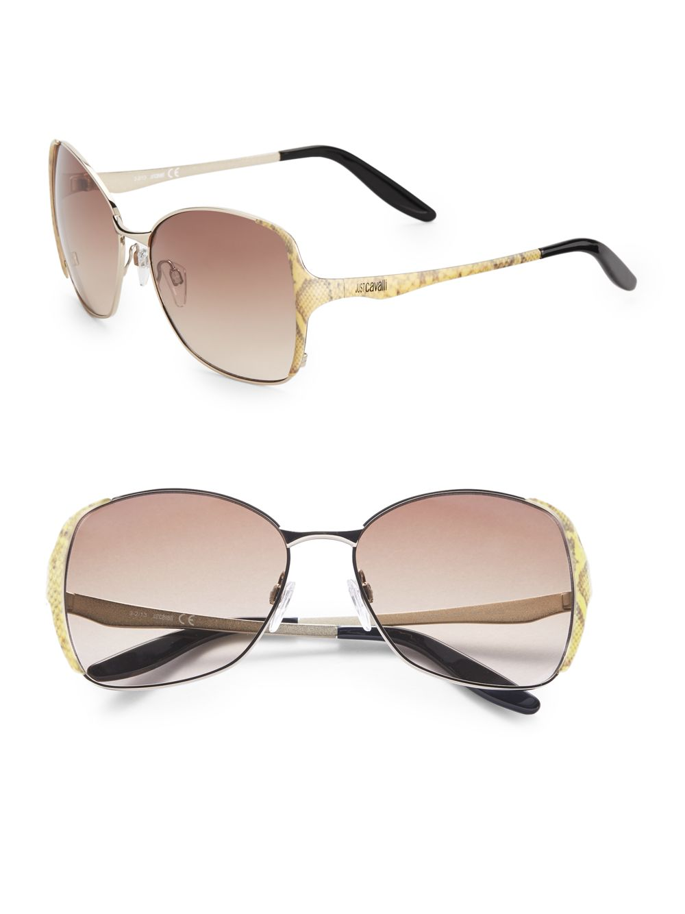 Just Cavalli Metal Square Frame Sunglasses in Gold (gold ...