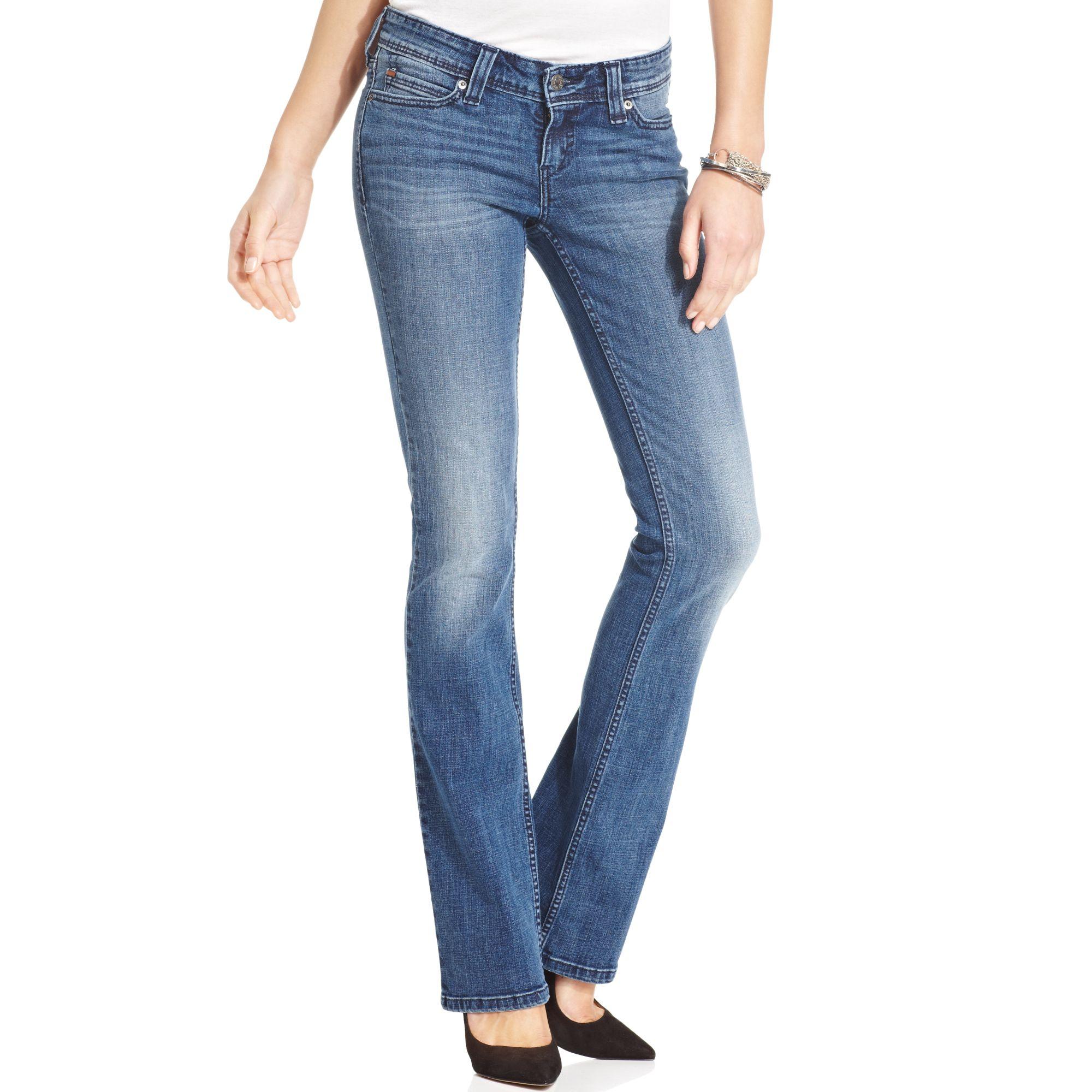 levis juniors demi curve bootcut jeans in blue iron ore