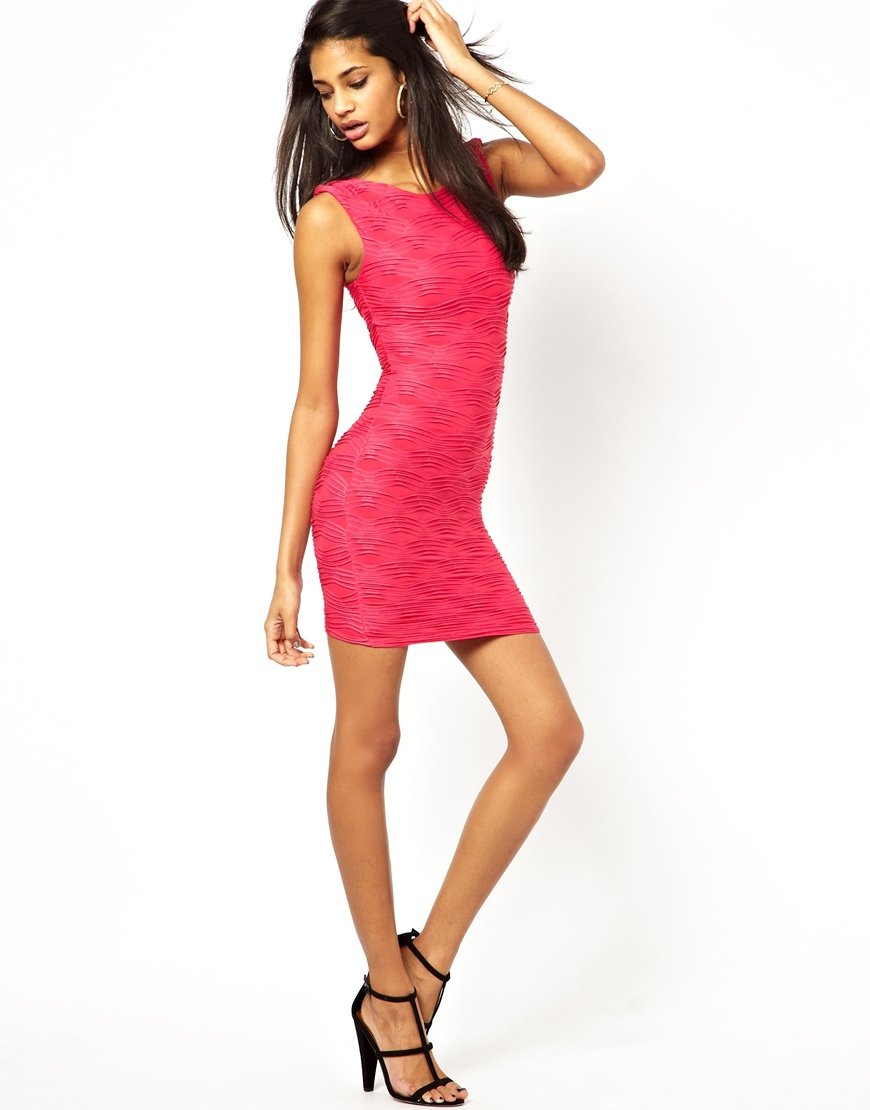 a5f6c1ae29d0 Lipsy Bodycon Dress In Ripple Jersey in Pink - Lyst
