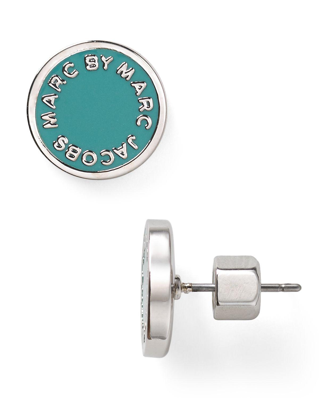42a197046fb82 Lyst - Marc By Marc Jacobs Enamel Logo Disc Stud Earrings in Green