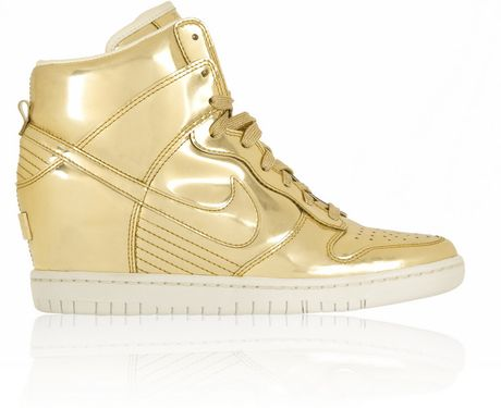 Nike Dunk Sky Hi Metallic Leather Wedge Sneakers in Gold
