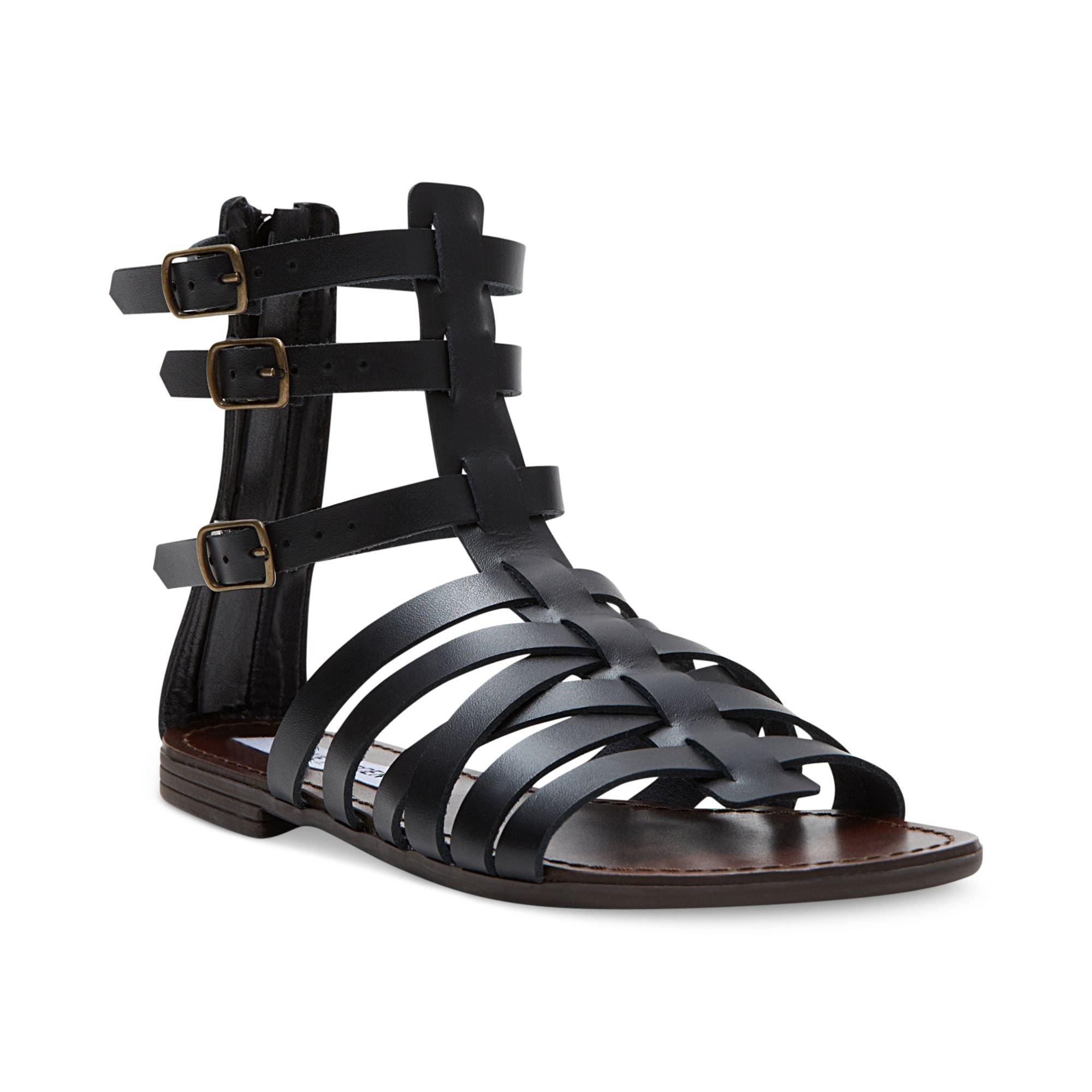 steve madden plato flat gladiator sandals in black lyst. Black Bedroom Furniture Sets. Home Design Ideas