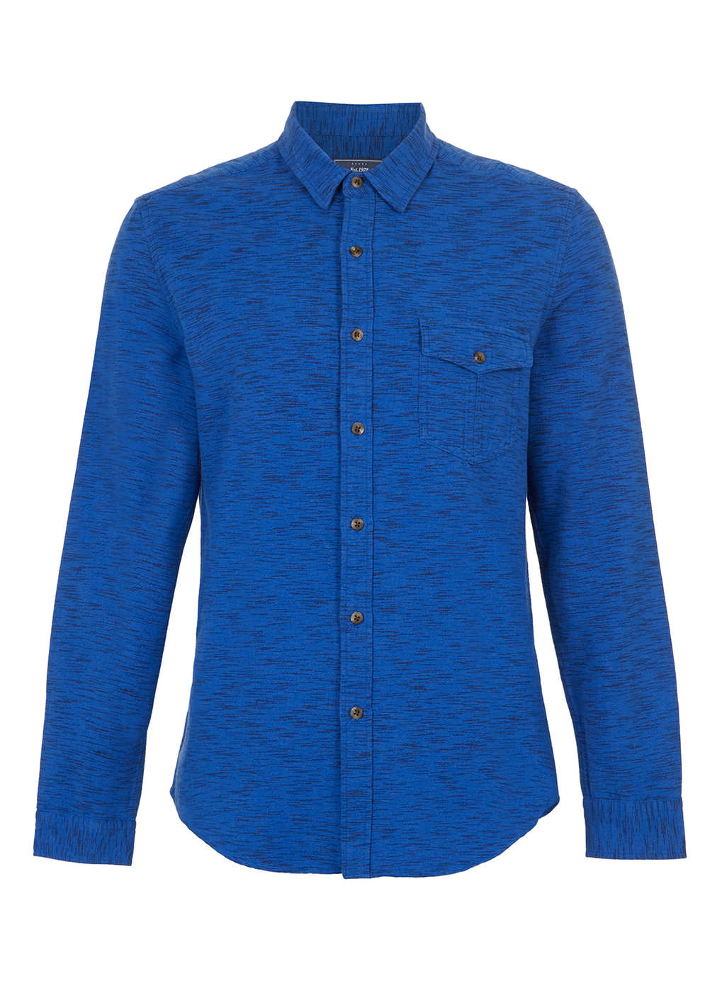 Topman blue space dye long sleeve flannel shirt in blue for Space flannel