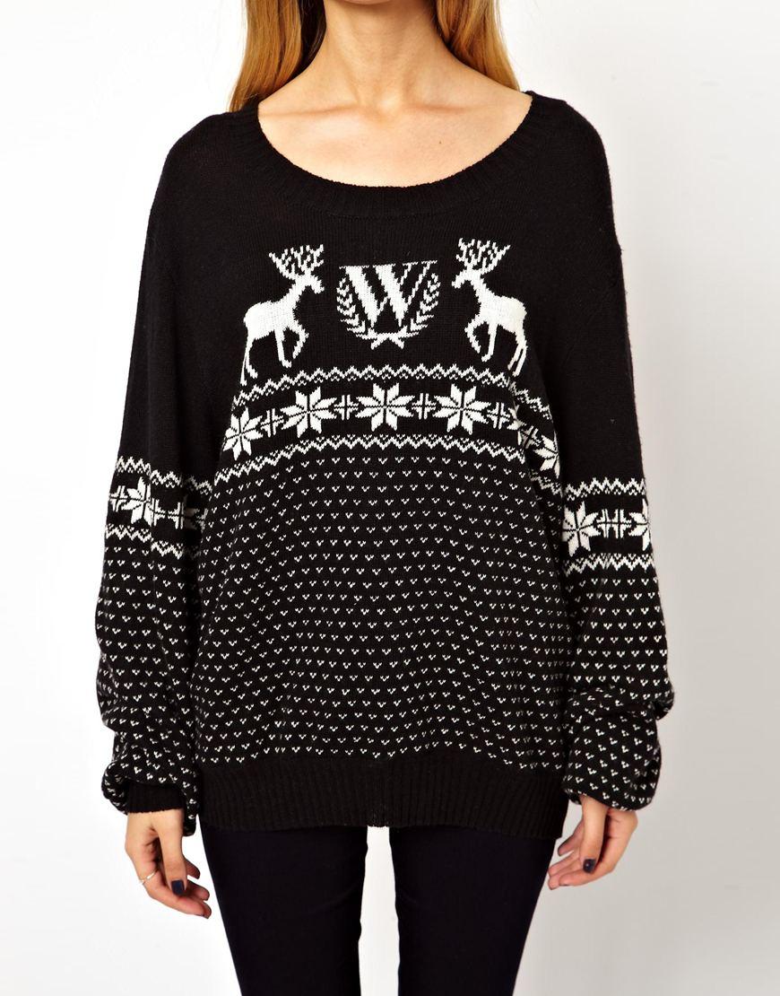 Wildfox Christmas Sweater.Wildfox Black Christmas Jumper