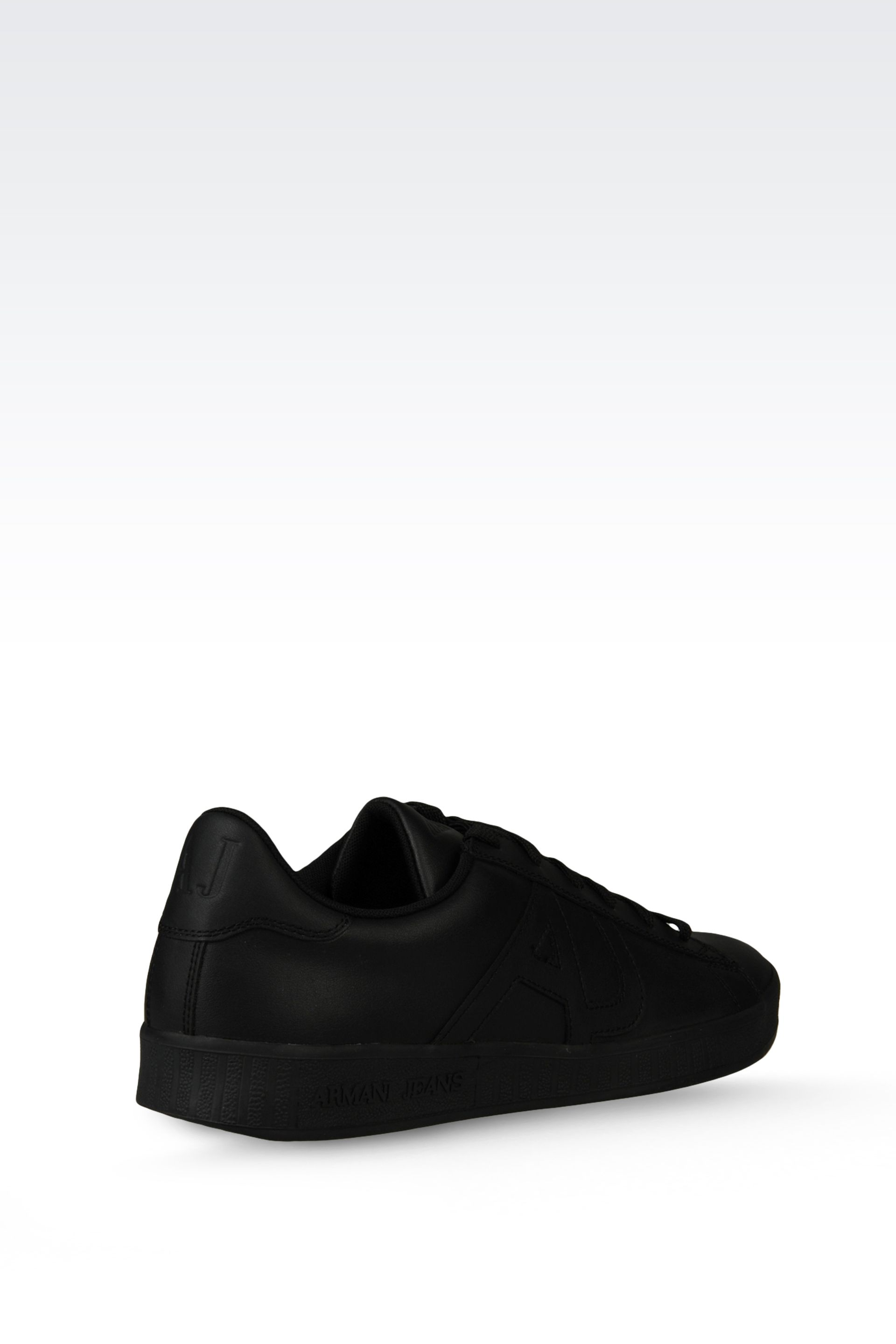 armani jeans sneaker in leather with logo in black for men lyst. Black Bedroom Furniture Sets. Home Design Ideas