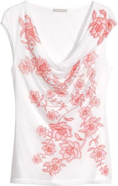 H&m Draped Top in Pink (White)
