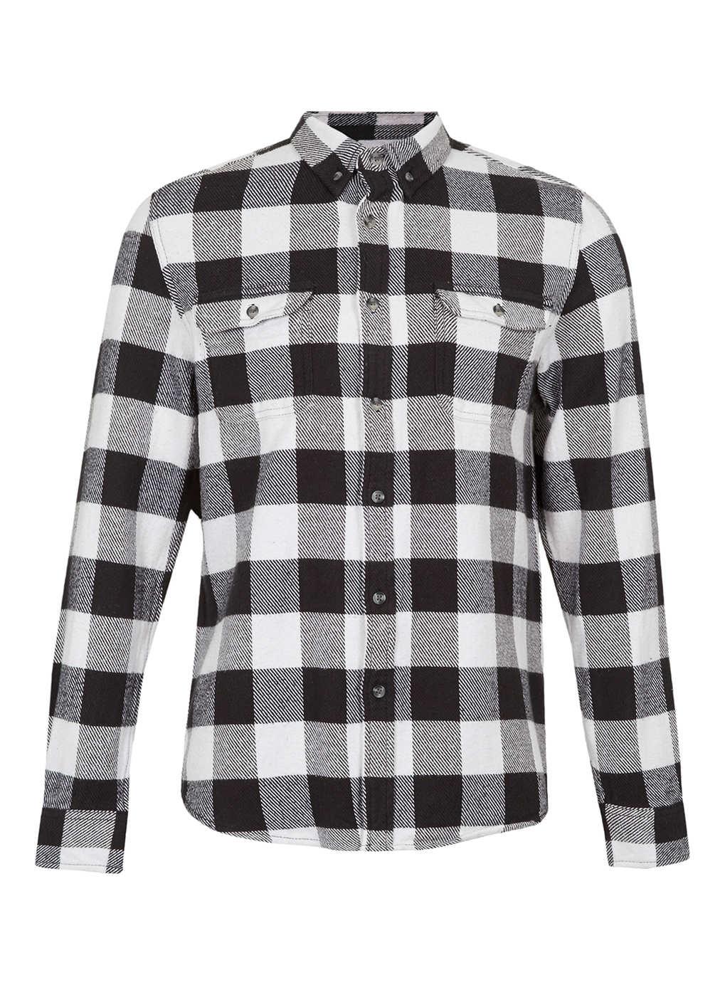 Topman monochrome buffalo check long sleeve flannel shirt for Buffalo check flannel shirt jacket