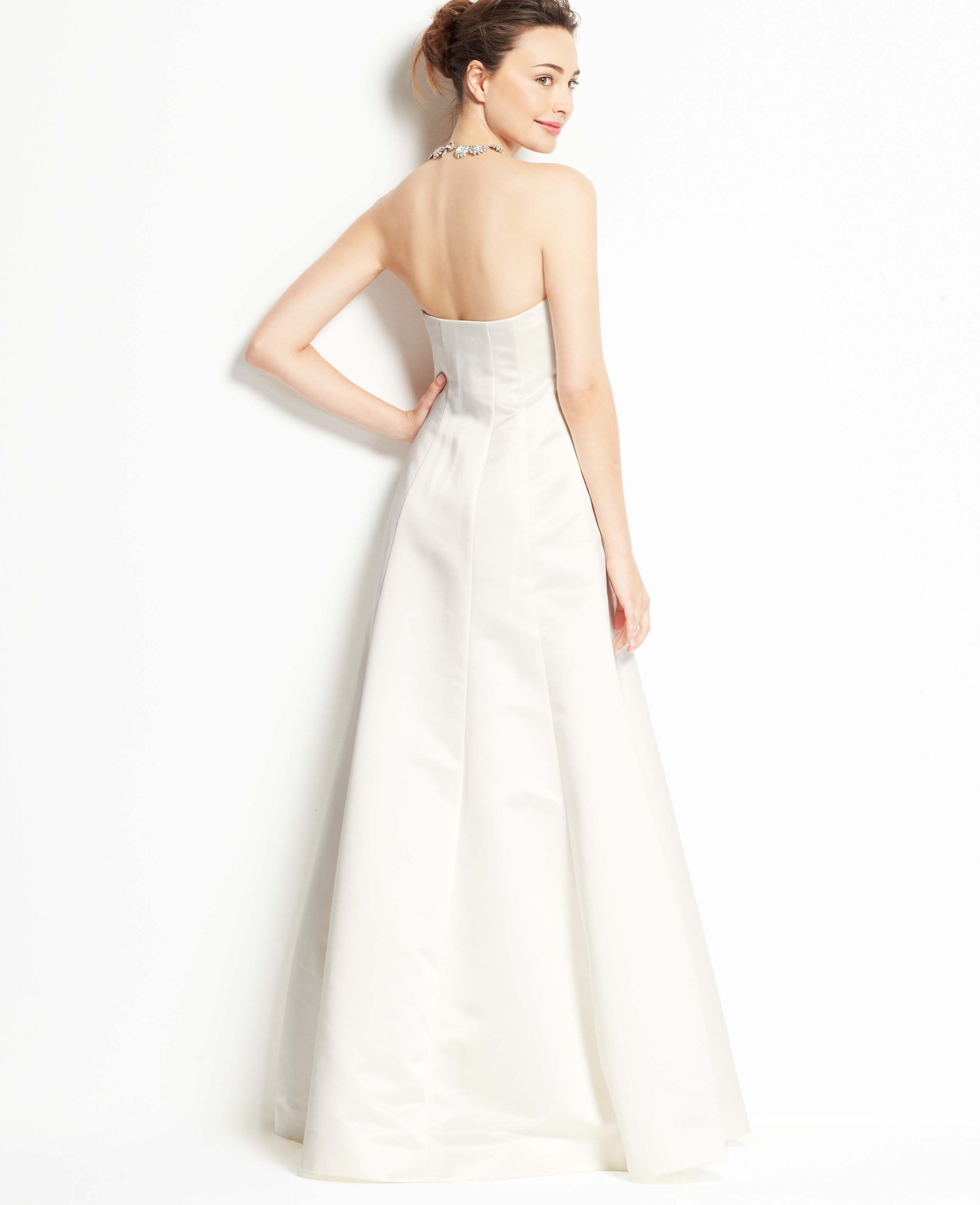 Lyst ann taylor petite duchess satin strapless wedding dress in white junglespirit Image collections