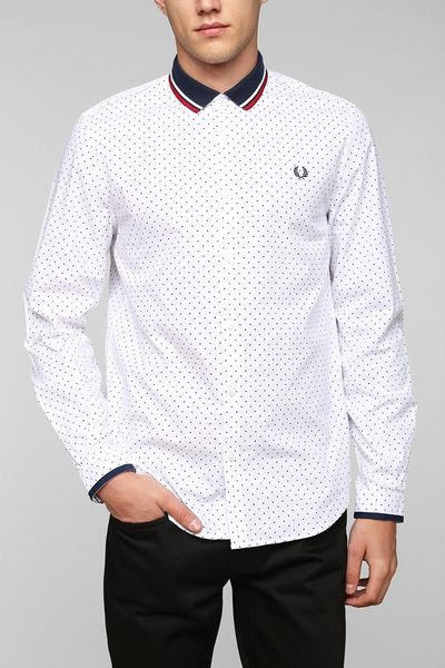 Fred perry knit collar polka dot button down shirt in for Button down polka dot shirt