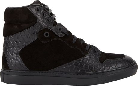 Balenciaga Suede Amp Croc Stamped Sneakers In Black Lyst
