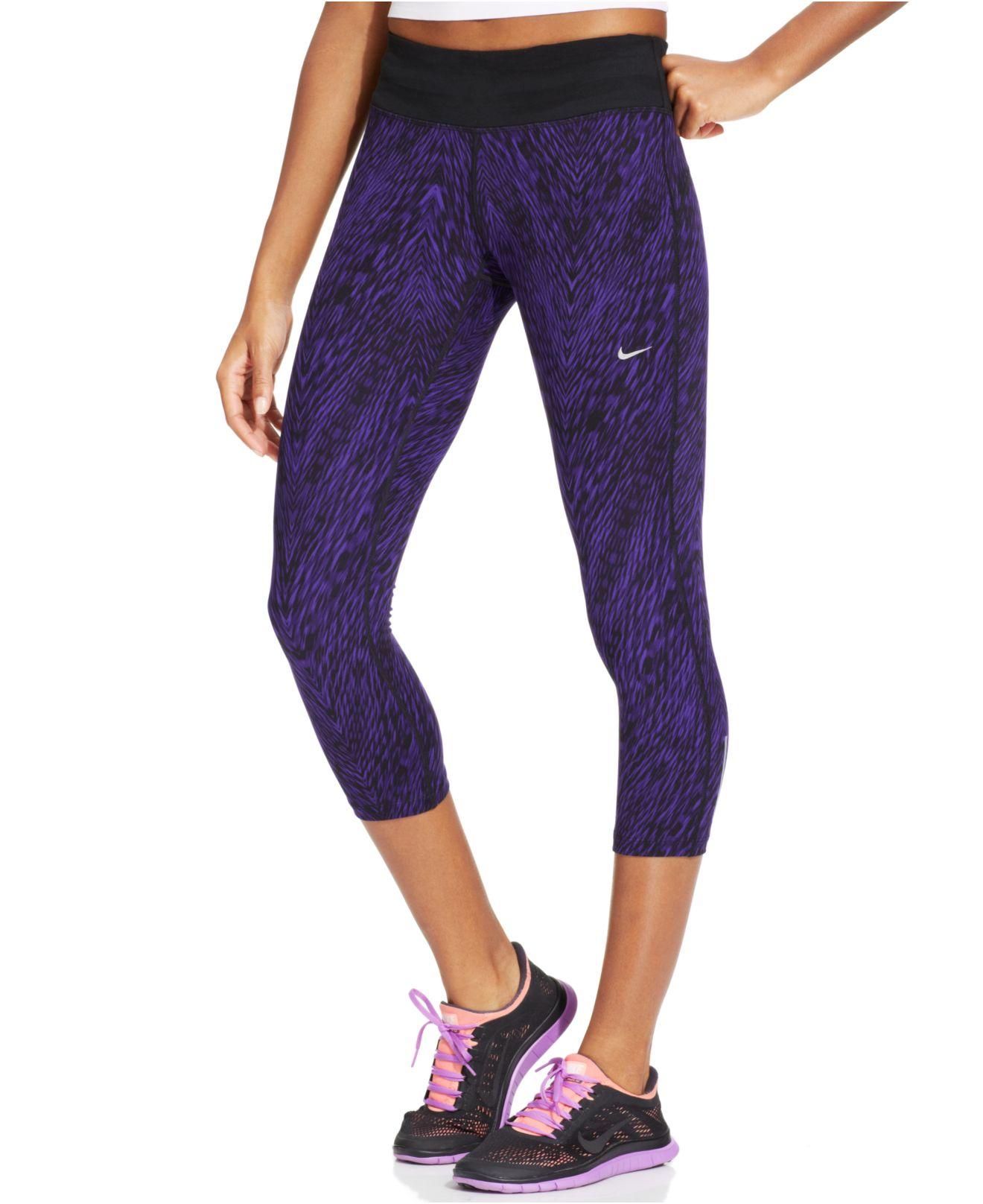 02d63cc35a869 Nike Epic Run Printed Dri-Fit Capri Leggings in Purple - Lyst