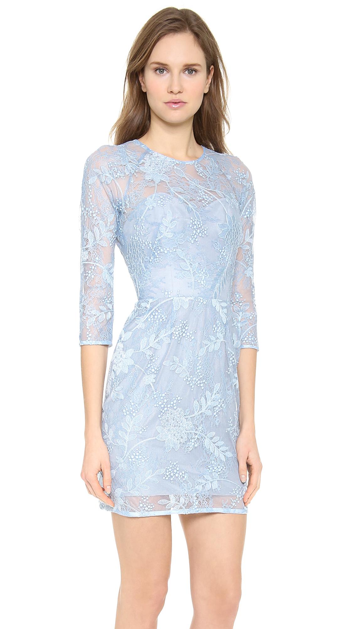 Lela Rose Lace Dress In Blue Lyst