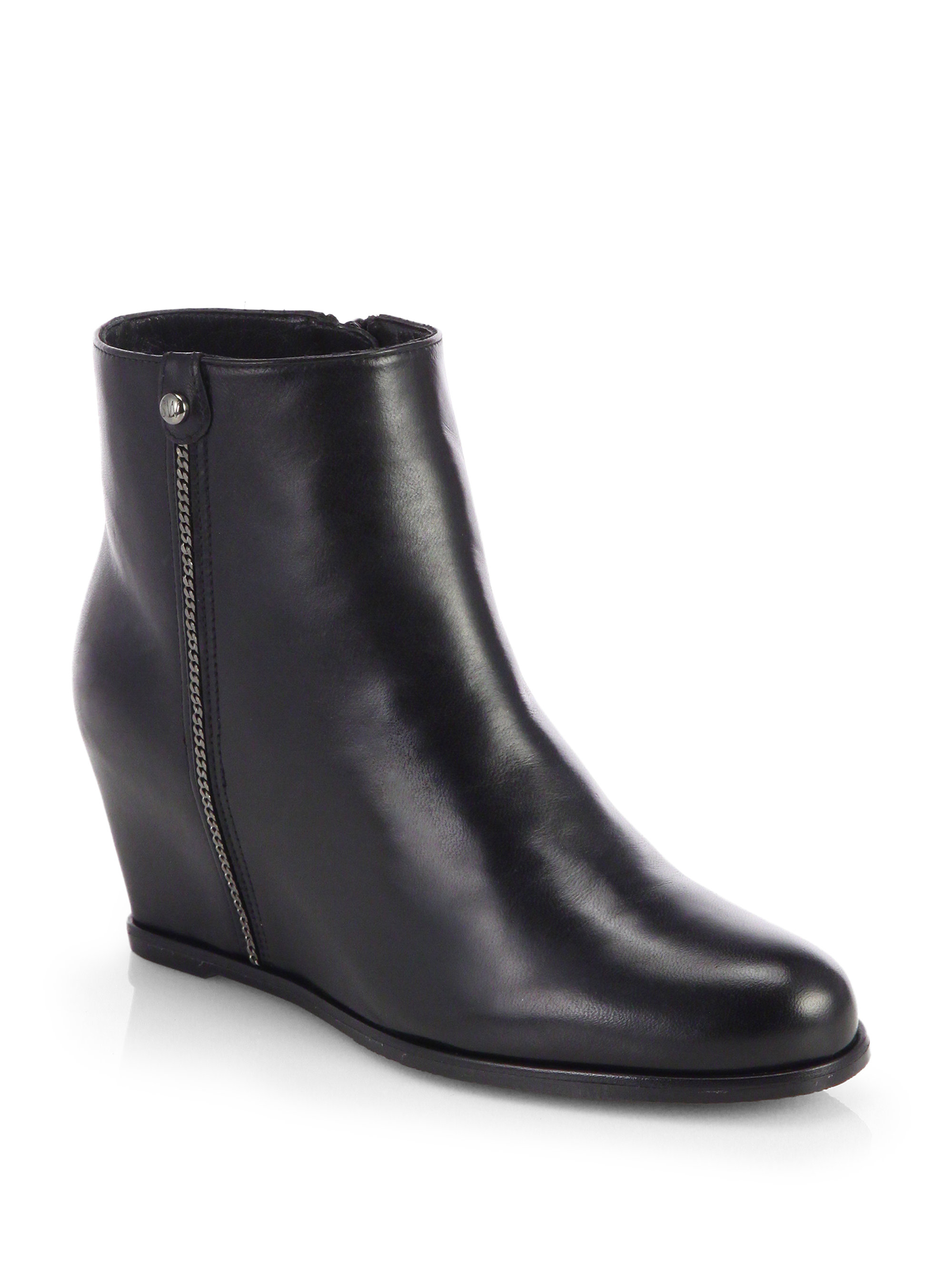 stuart weitzman sidetrack suede wedge ankle boots in black