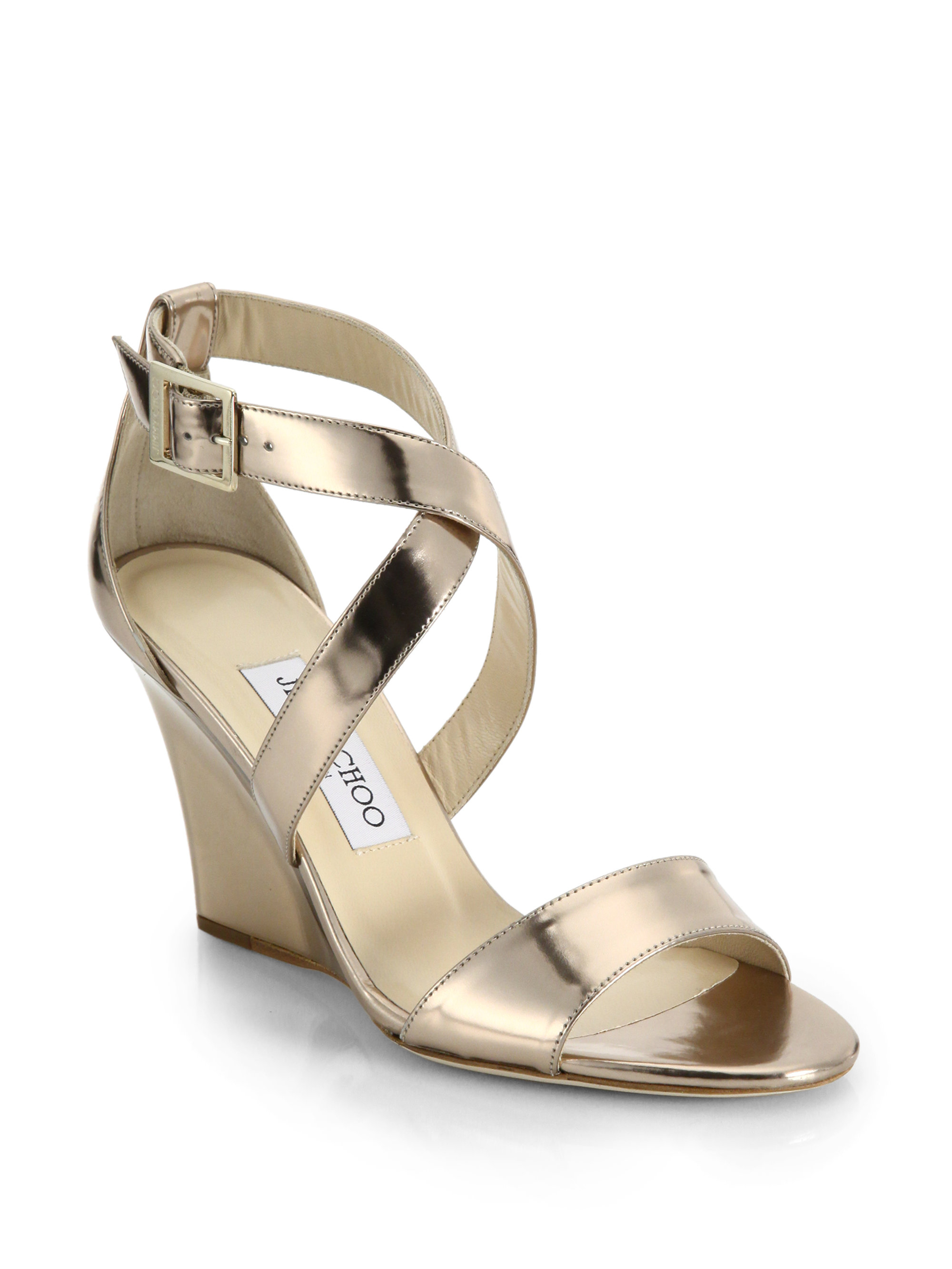 Jimmy choo Fearne Metallic Leather Strappy Wedge Sandals in ...