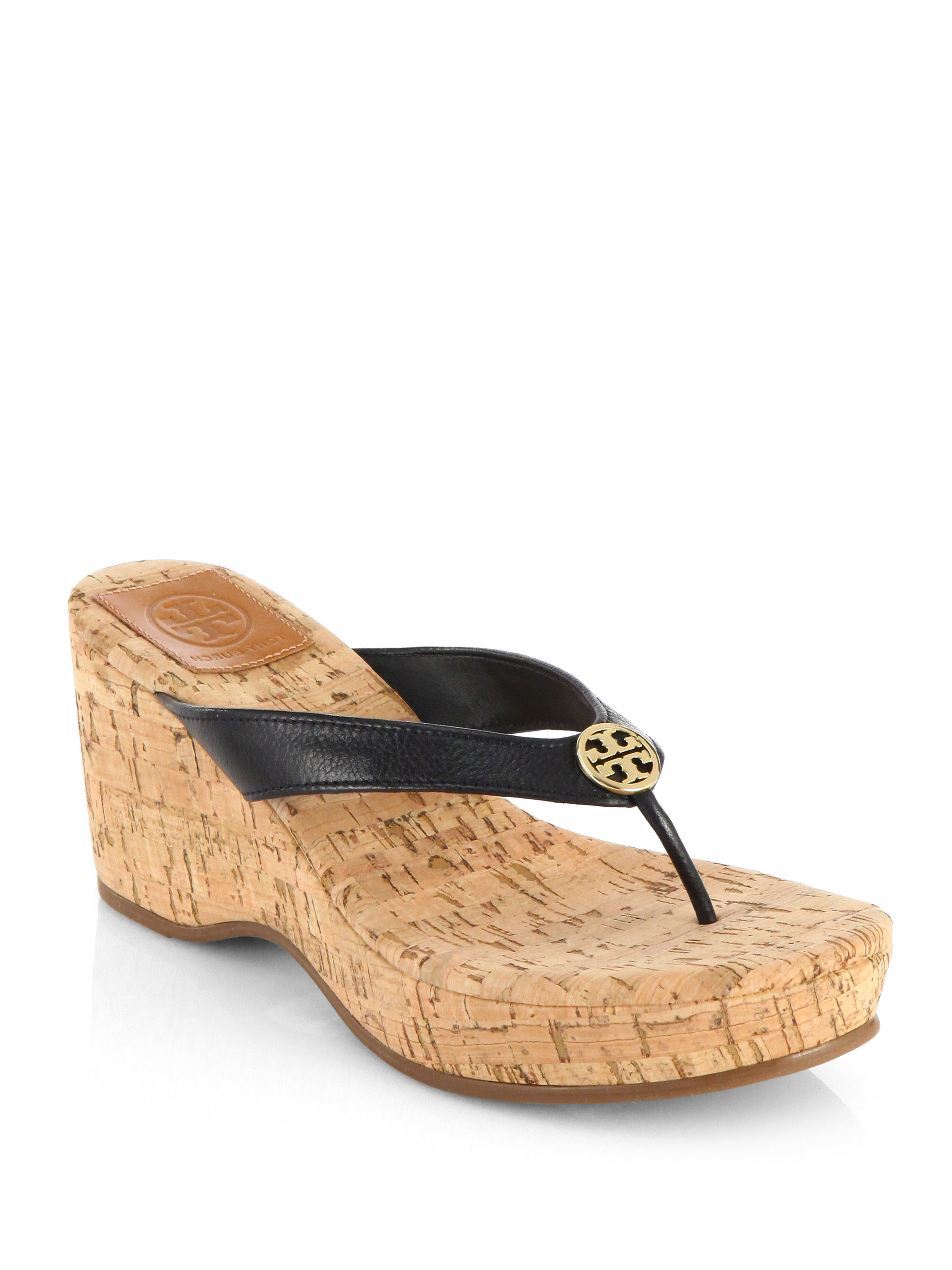 tory burch suzy leather cork wedge sandals in black lyst. Black Bedroom Furniture Sets. Home Design Ideas