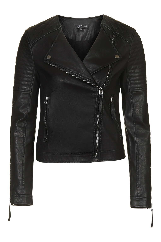 Topshop Pu Biker Jacket In Black Lyst