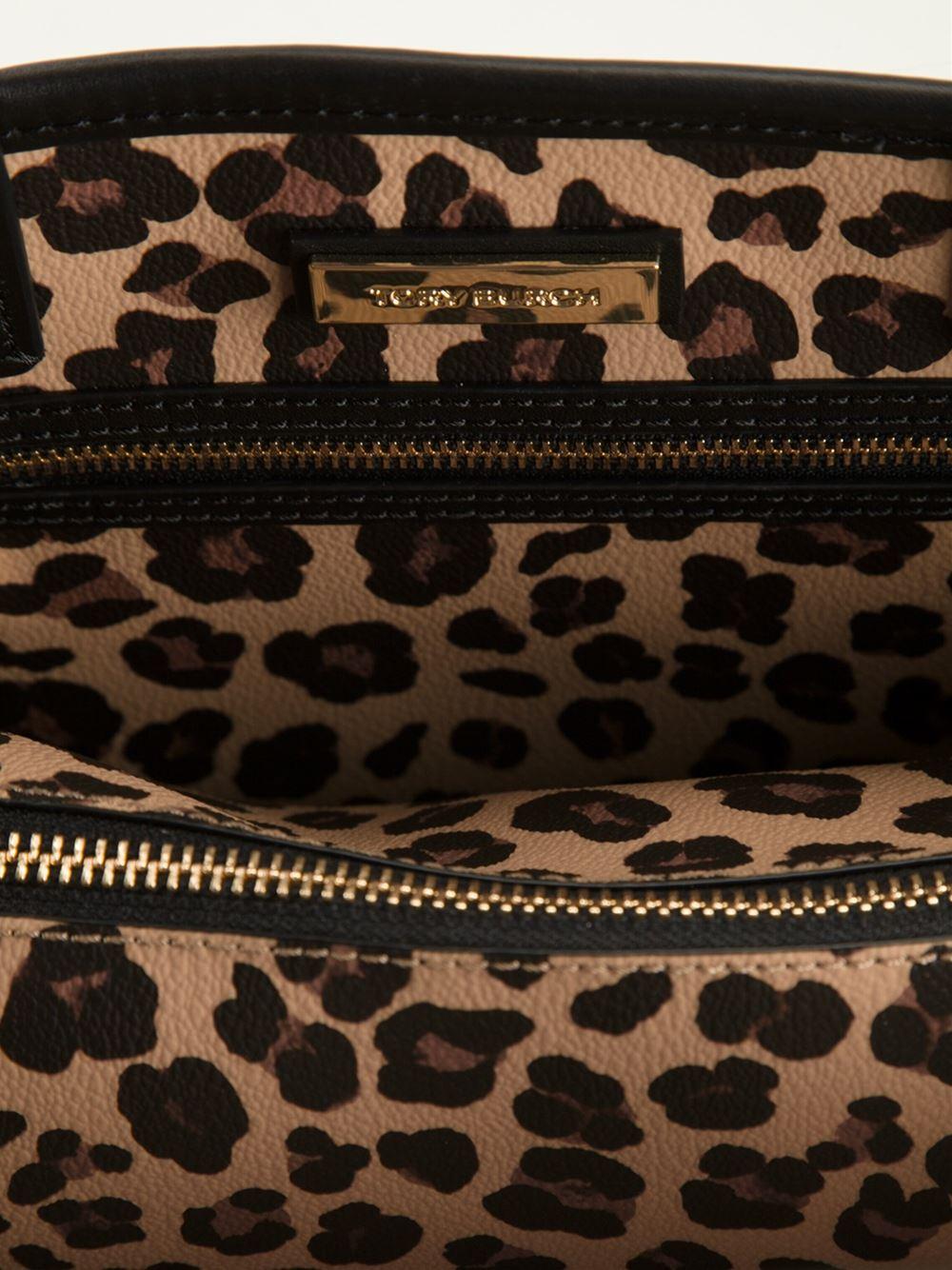 bce8df72ae4a Tory Burch Kerrington Leopard Tote in Black - Lyst