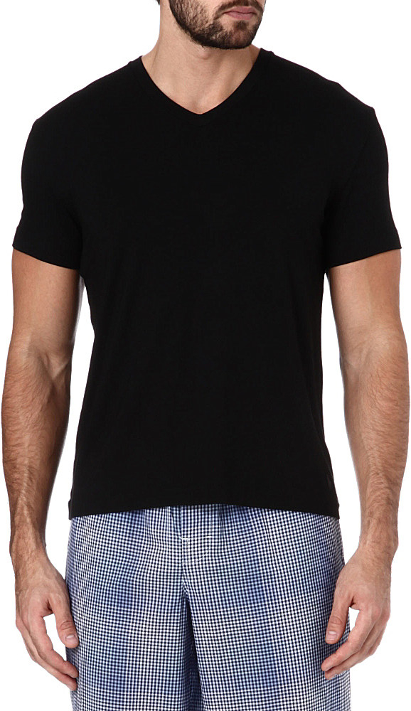 Ralph lauren luxury modal t shirt in black for men lyst for Modal t shirts mens