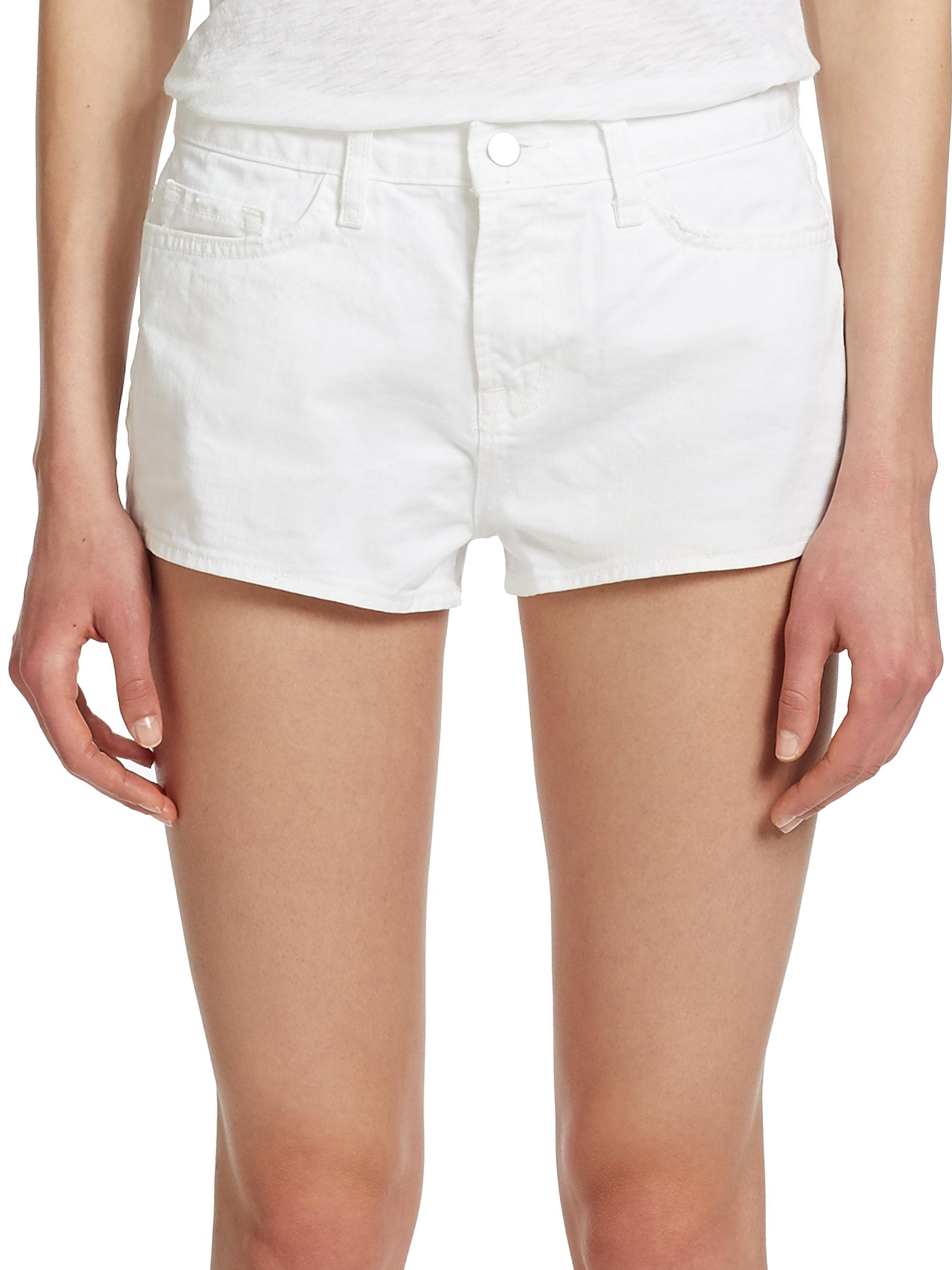 J brand High-Rise Denim Shorts in White | Lyst