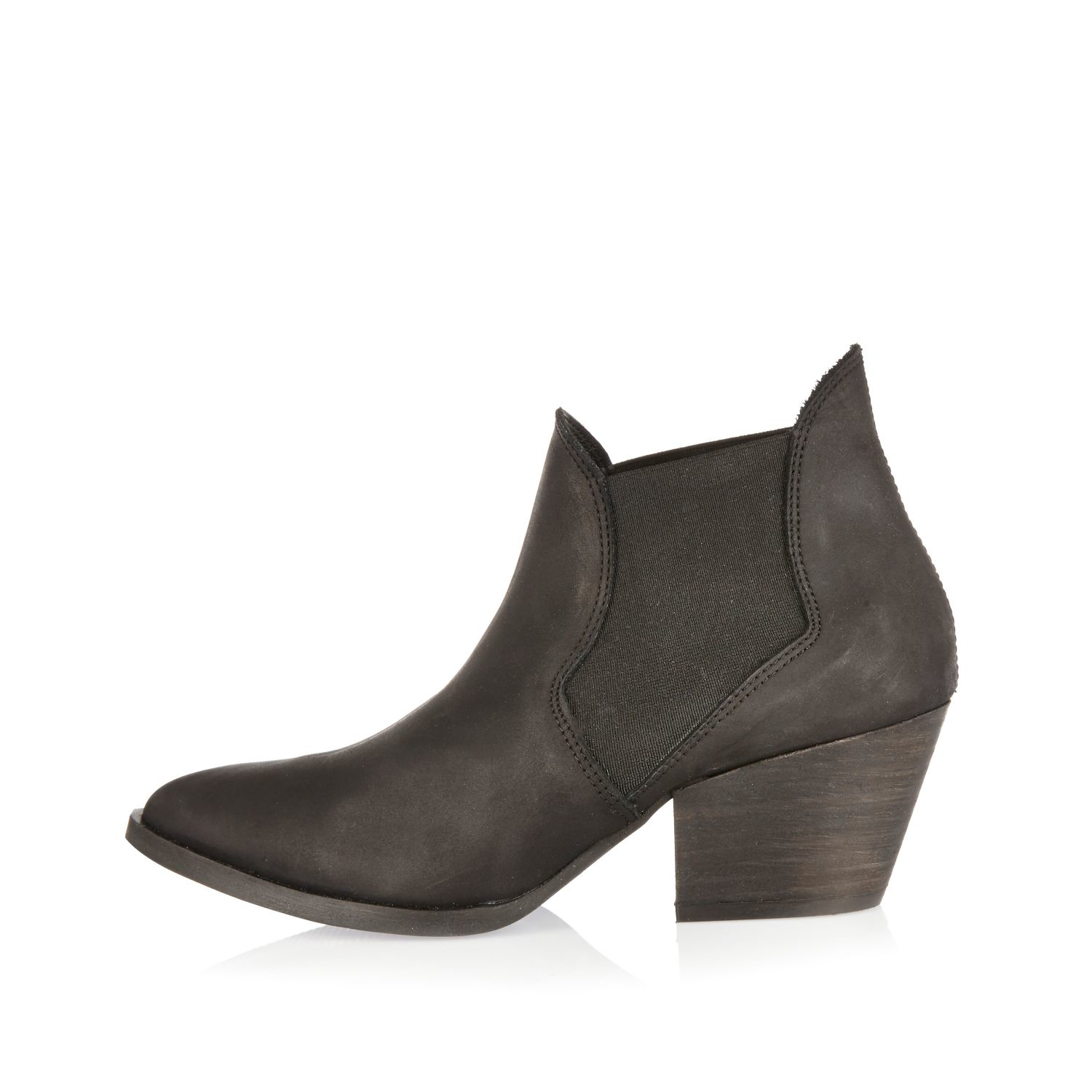 River island Black Western Ankle Boots in Black | Lyst
