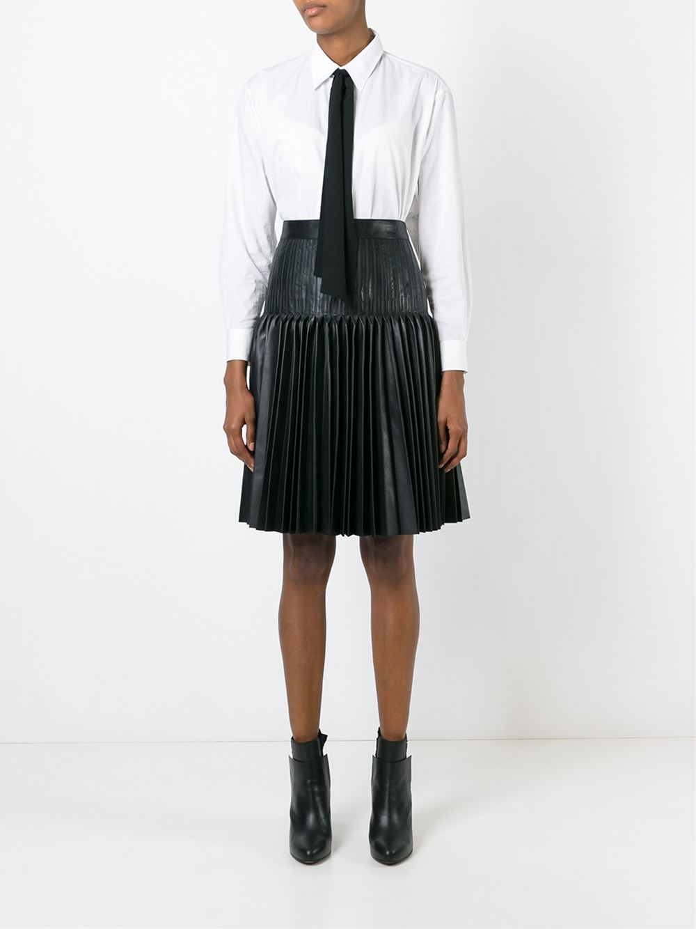 givenchy black pleated leather skirt lyst