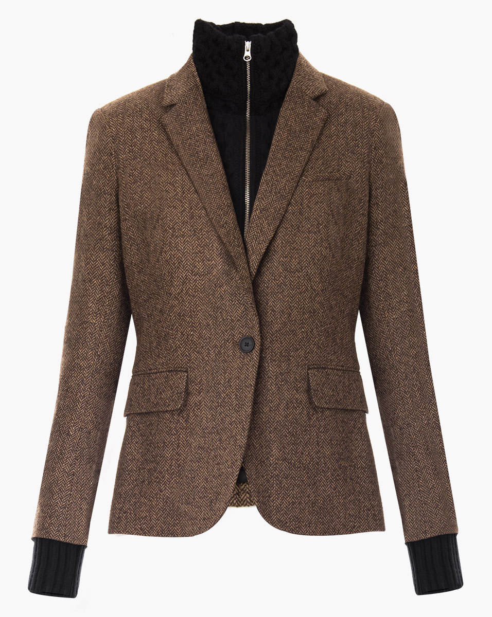 Lyst Veronica Beard Classic Jacket With Leather Elbow Patches In Brown
