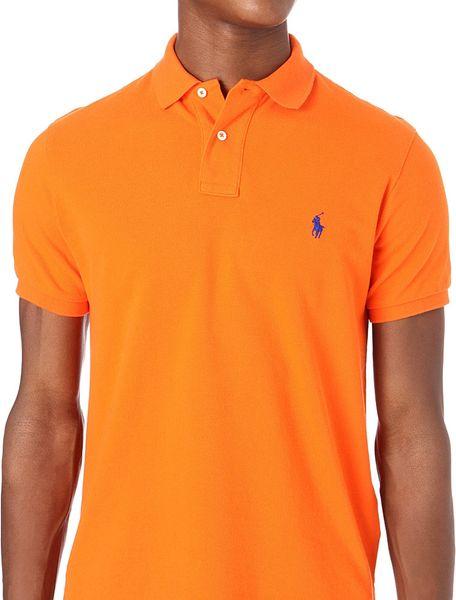 Ralph lauren customfit mesh polo shirt in orange for men for Orange polo shirt mens