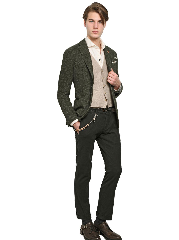 Lardini Wool & Hemp Blend Herringbone Blazer in Green for Men | Lyst