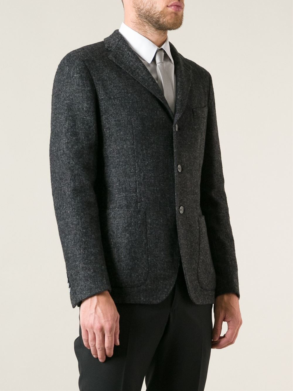 Tagliatore Tweed Blazer in Black for Men | Lyst