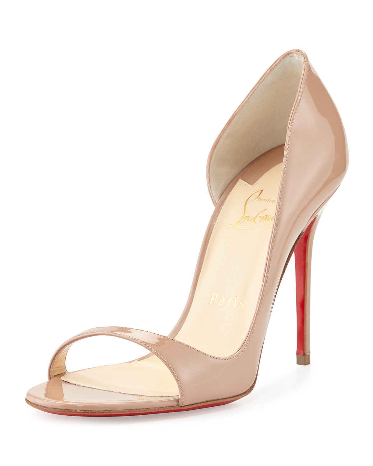 replica christian louboutin boots - Christian louboutin Toboggan Half-d'orsay Red Sole Pump in Beige ...