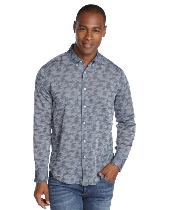 Slate And Stone Clothing : Slate stone blue camouflage long sleeve button front