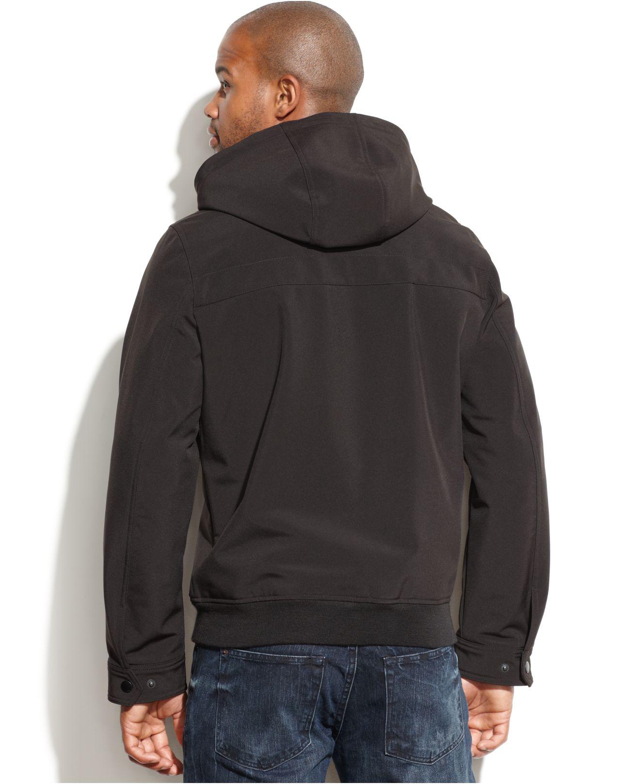 76443b13fec Lyst - Tommy Hilfiger Hooded Soft-shell Jacket In Black For Men