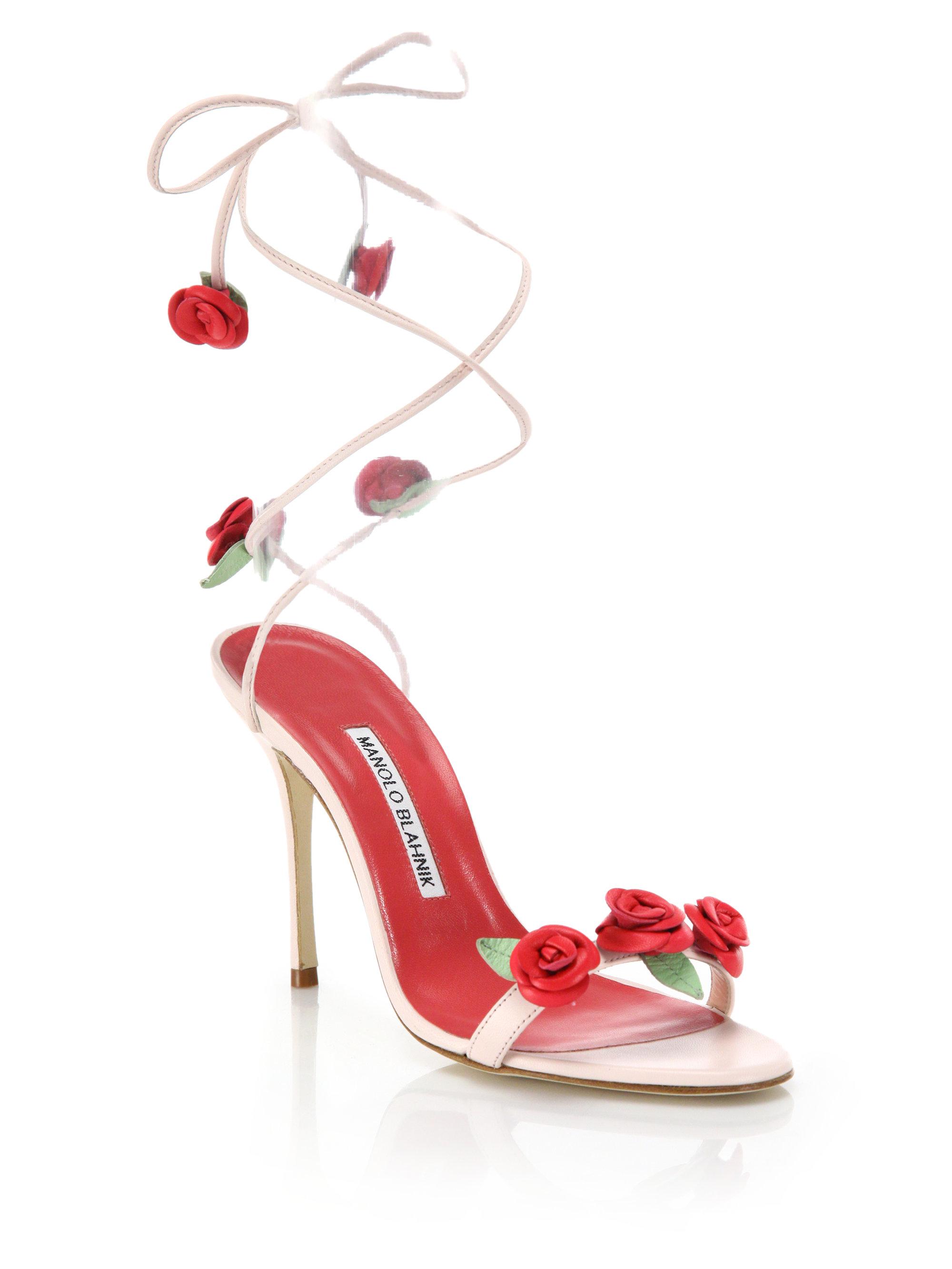 b3185e08d0db Lyst - Manolo Blahnik Leather Rose-detail Lace-up Sandals
