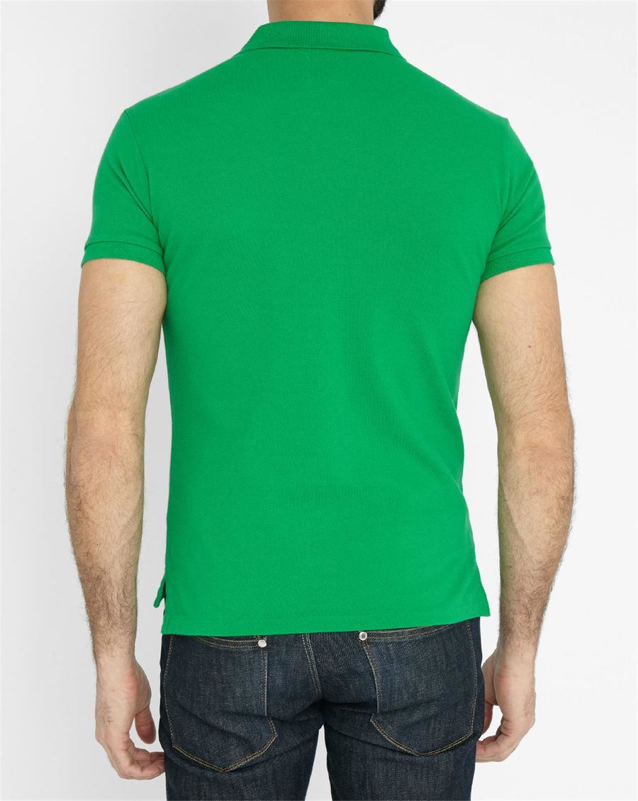 polo ralph lauren green slim fit polo shirt in green for. Black Bedroom Furniture Sets. Home Design Ideas