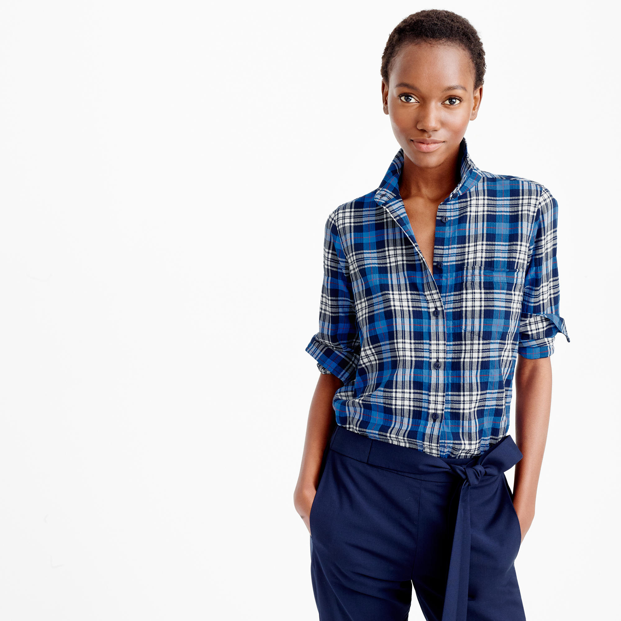 Petite boy shirt in navy weekend plaid in blue lyst for Navy blue plaid shirt