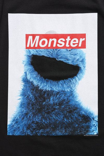 Urban Outfitters Censored Cookie Monster Tee In Black For