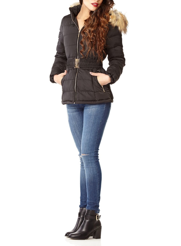 Lyst Quiz Black Padded Faux Fur Hood Jacket In Black