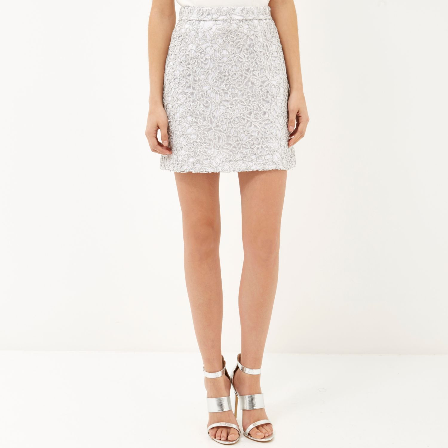 River island Silver Sparkly Lace A-line Skirt in Gray | Lyst