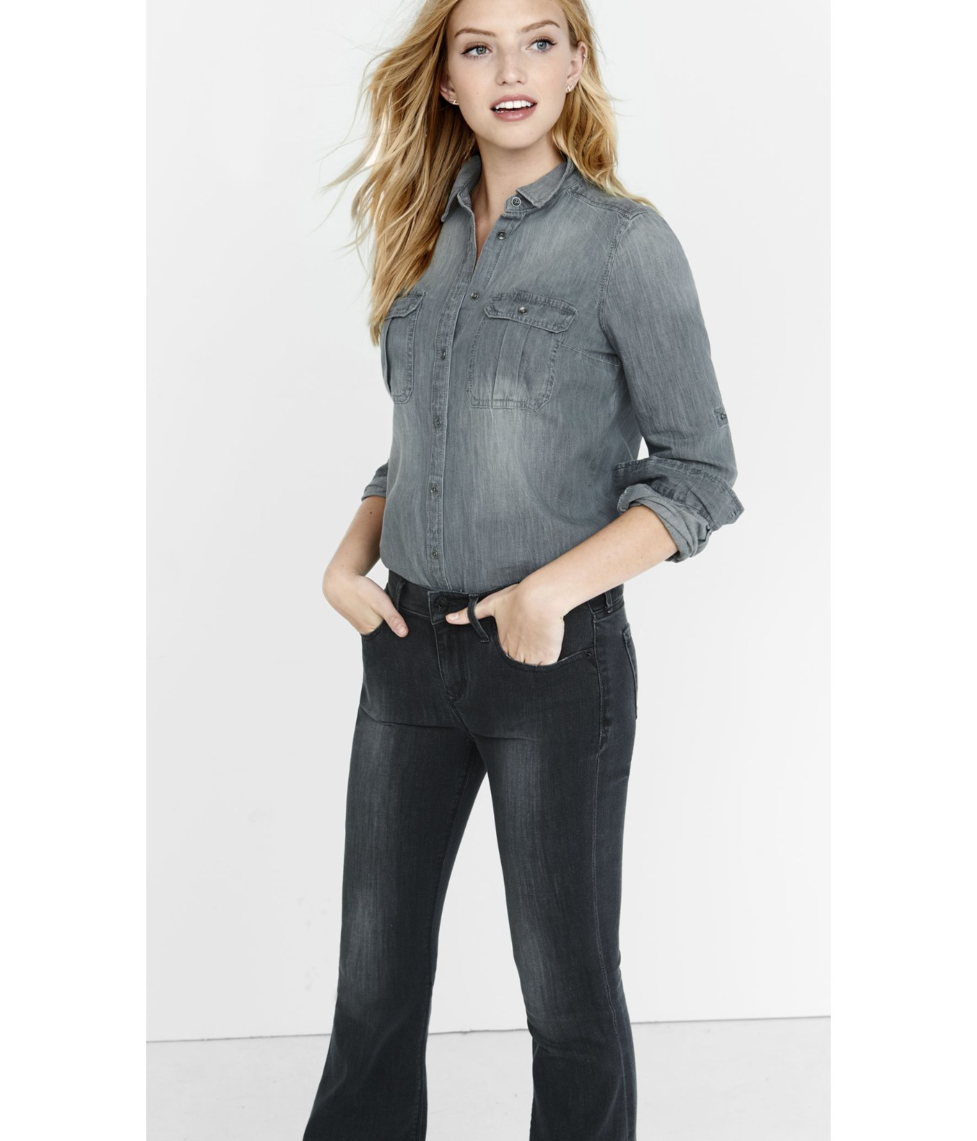 Express Gray Wash Fitted Denim Shirt in Gray | Lyst