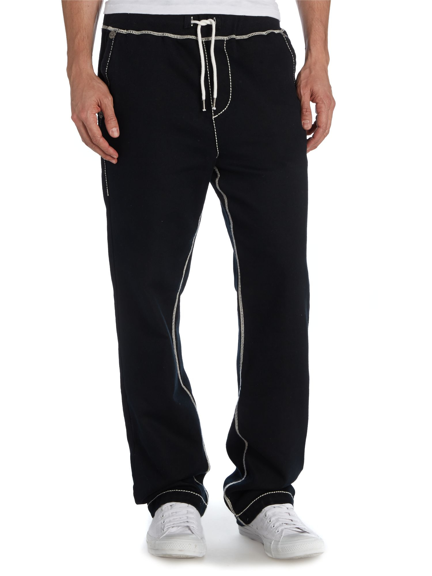 true religion straight leg tracksuit bottoms with contrast stit in black for men lyst. Black Bedroom Furniture Sets. Home Design Ideas