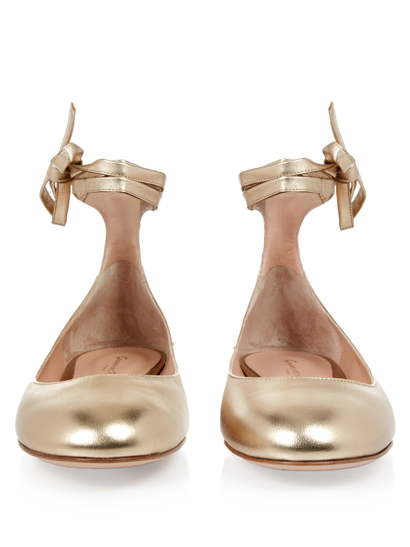 f47a0f119852 Lyst - Gianvito Rossi Carla Leather Ballet Flats in Metallic