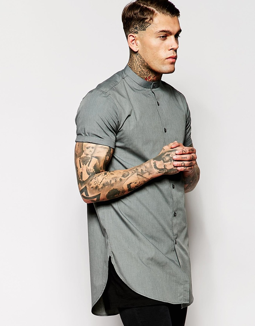 Asos shirt in super longline with short sleeves and Mens grandad collar shirt