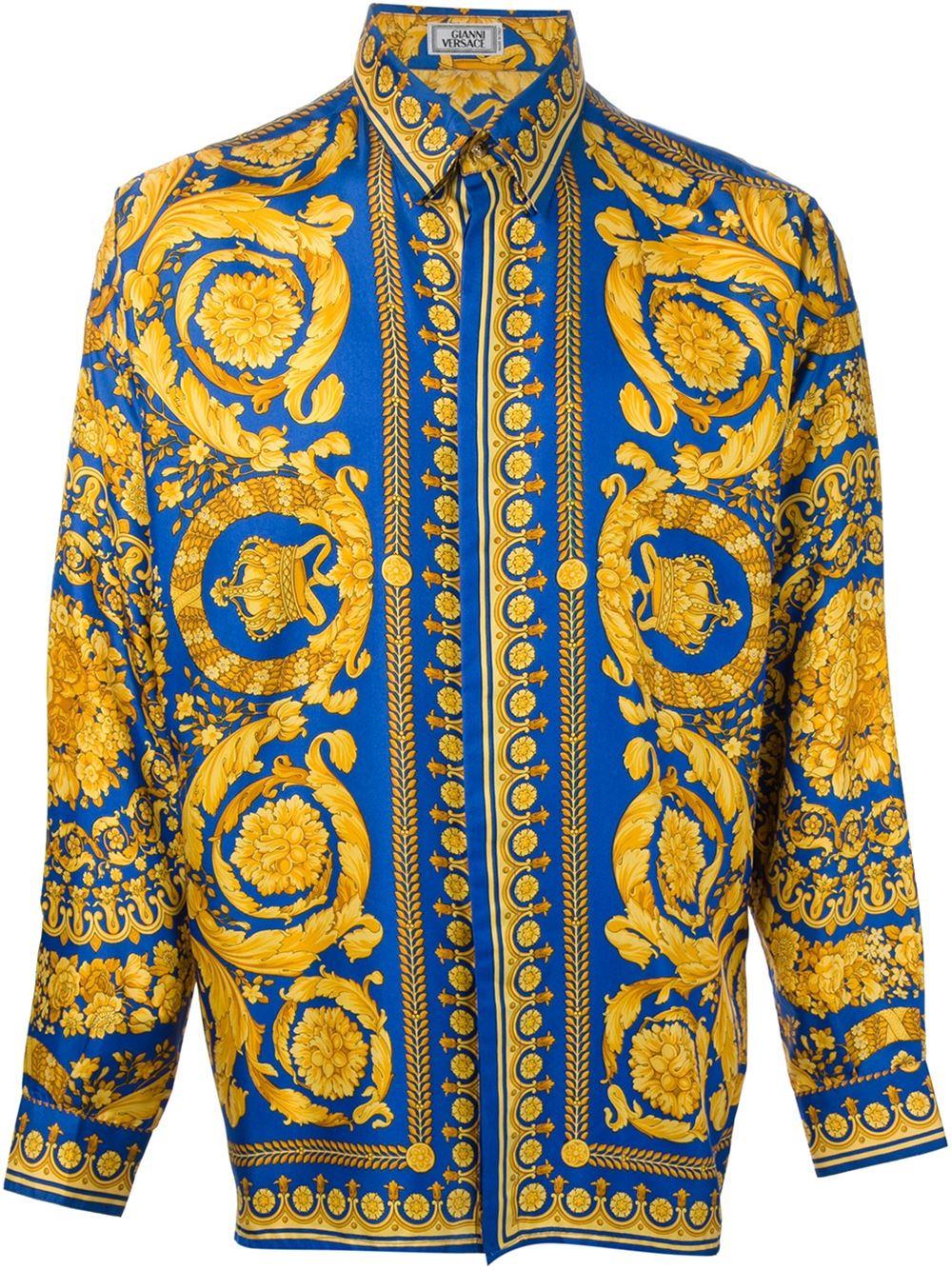 Versace Baroque Print Shirt In Yellow For Men Yellow
