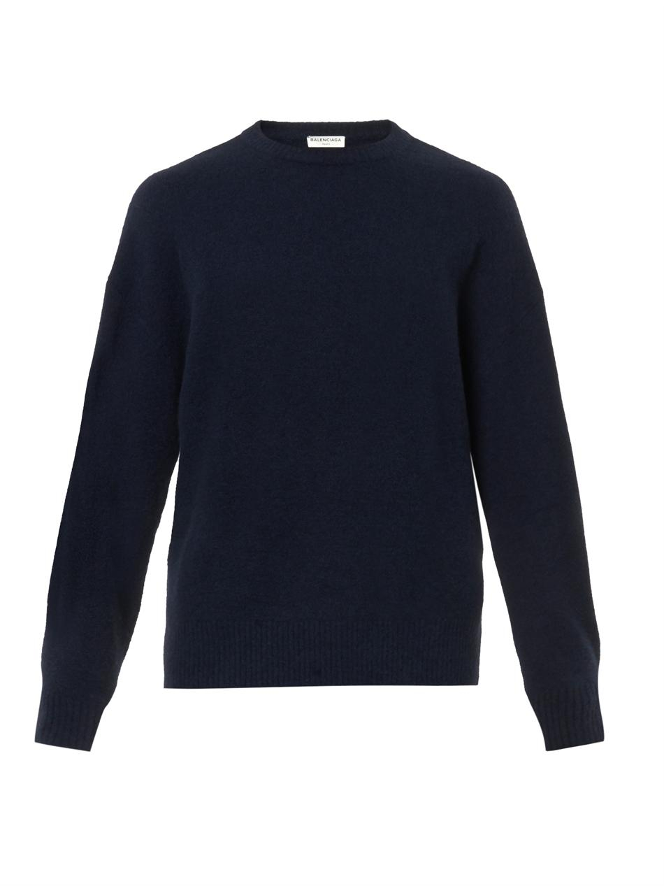 Balenciaga Oversized Navy Wool-blend Sweater in Blue for Men | Lyst