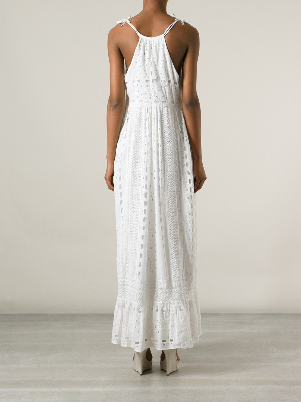 891bd5019fed Cacharel Eyelet Shift Maxi Dress in White (off white) , Lyst