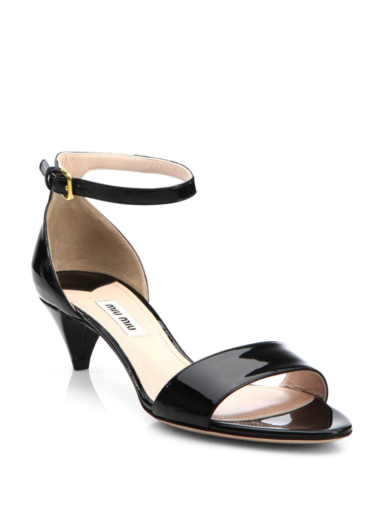 Miu miu Patent Leather Kitten Heel Sandals in Black | Lyst